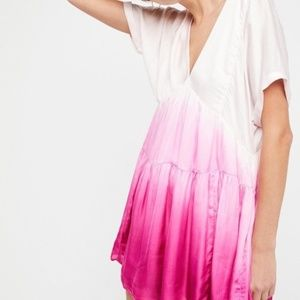 Free People Sun Up Pink Ombre Mini Dress